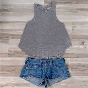 ❤️ AE black white stripe twist strap open back top